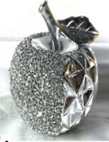 LARGE SILVER APPLE SPARKLE BLING ORNAMENT CRUSHED DIAMOND,HOME DECOR💎