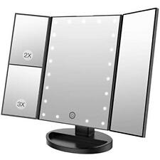 Makeup Vanity Mirror Trifold beauty with Led Lights Touch Screen, Cosmetic 180°