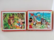 Vintage 1970's Wooden Disney Children Jigsaw Puzzles Mickey Mouse Donald Duck