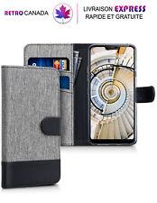 Etui portefeuille pour LG G7 ThinQ en tissu et cuir avec emplacements de cartes