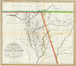 1815 Map of the Seat of War Among the Creek Indians Native American Wall Print