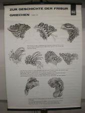 Schulwandbild Geschichte der Frisur Griechen 2 Friseur Wella 70x96 vintage chart