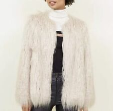 New Look Cream Shaggy Faux Fur Coat Size UKM RRP£54.99 {N5}