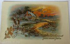 """""""Neujahr, Landschaft, Abendrot"""" 1915, Golddruck ♥ (2522)"""