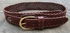 S/M - Brown Sugar Wide Woven Brown Leather Belt womens with gold metal buckle
