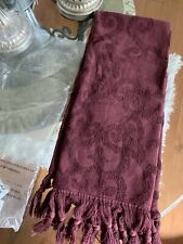 Pottery Barn Port Burgundy Hand Guest Towel With Tassels New