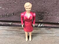 Vintage RENWAL Mother Dollhouse Jointed Woman Figure Pink Dress