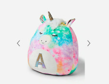 """New Justice kellytoy initial unicorn Jumbo squishmallow pillow """"A""""  n8"""