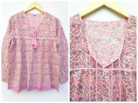 77ef6734c3d Women s cotton pink summer boho vintage 70s blouse tunic top with silver  lurex