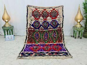 "Handmade Moroccan Vintage Boucherouite  3'7""x5'7"" Geometric Red Green Berber Rug"