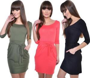 Kleid mit Schleife Mini Kleid in 8 Farben, Gr. XS S M L XL, 8197