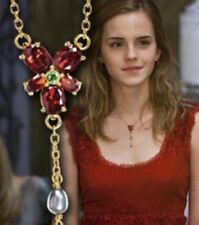 """HARRY POTTER HERMIONE GOLD CRYSTAL PEARLS 18"""" REPLICA NECKLACE BIRTHDAY GIFT NEW"""