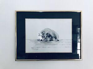 PIG HOG 5 OF 50 FRAMED VINTAGE B&W ETCHING PRINT SIGNED by SHIRLEY O VOSS 1981