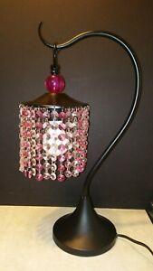 Beautiful Pink And Black Beaded shade Table Lamp