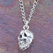 SKULL Skeleton Charm Pendant Necklace Moveable Jaw 925 sterling silver 3D