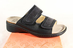 Turm Ladies Mules Slippers Real Leather Blue