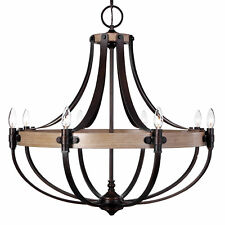 Large French Empire Style 8 Light Chandelier | Oak Wood Bronze Basket Shape