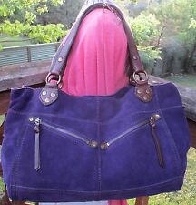 Lucky Brand Rugged Purple  Leather Tote Bag Two Pocket Satchel Boho NEW