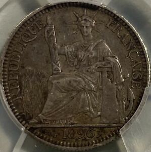 French Indochina Silver 1896 10 Centimes Cents PCGS XF45 Fasces Variety RRRare