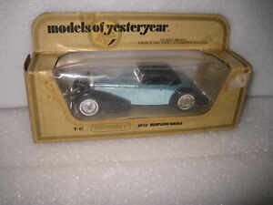 MATCHBOX YESTERYEAR Y-17 1938  HISPANO SUIZA  2 TONE BLUE  SHOP WEAR TO THE BOX