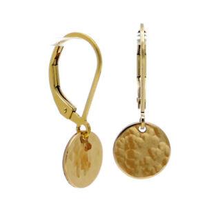 ✨SICHER & CHARMANT ● Ohrringe mit Platte in Hammerschlag Optik ygf 14k Gold 585