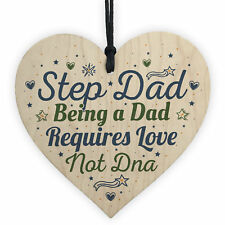 Step Dad Daddy Gifts Christmas Birthday Handmade Wooden Heart Plaque Sign Gift