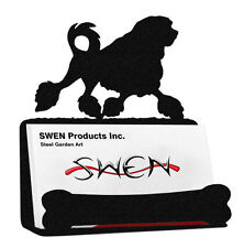 Swen Products Lowchen Dog Black Metal Business Card Holder
