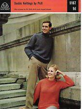 """1732  Ladies Mens DK Textured Sweaters  34-44""""  Vintage Knitting Pattern"""