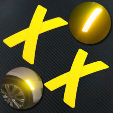 4pcs Reflective Yellow Car Wheel Eyebrows Sticker Warning Sign Self-adhesive