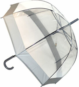 Clear Dome Umbrella SOAKE with Walking Stick Handle with Grey Trim Unisex