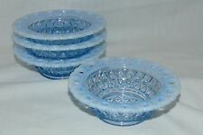 "4 Imperial LACED EDGE/ KATY BLUE* BLUE OPALESCENT* 4 1/2"" BERRY/FRUIT BOWLS *"