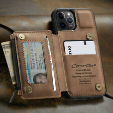 FOR iPhone 12/11 Pro Max Leather Wallet with Zipper Magnet Flip Cover Card Case