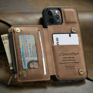 FOR iPhone 13/12/11 Pro Max Leather Wallet Zipper Magnet Flip Cover Card Case