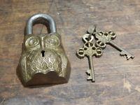 Owl Padlock decroative fully working Brass