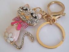 Handbag Buckle Charms Cristallo Rosa & SMALTO mici KAT CAT PORTACHIAVI KEY CHAIN