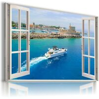 3D CITY GREECE SEA Window View Canvas Wall Art Picture Large SIZES W20