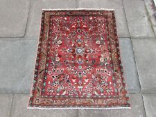 Vintage Hand Made Traditional Oriental Wool Red Pink Small Rug 112x88cm