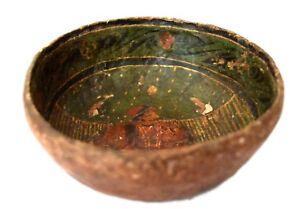 Vintage Indian decor old Handmade Folk Art Painted Paper Mache Bowl. G72-21 US