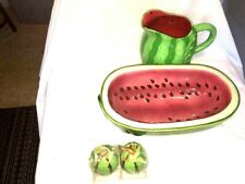 Watermelon Ceramic Serving Fruit BowL, Pitcher & S & P Shakers