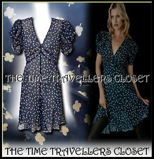 KATE MOSS VINTAGE 40s WW2 TOPSHOP NAVY BLUE BEIGE CLOVER TEA DRESS NO SLIP UK 8