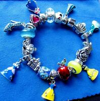 DISNEY CINDERELLA WITH BLUE STONE LOBSTER CLASP BRACELET CHARM
