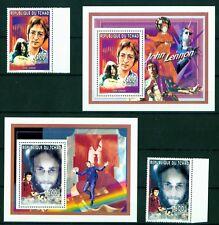 Tschad 1996 - John Lennon - Yoko Ono - The Beatles - Musiker - seltene Blocks !!
