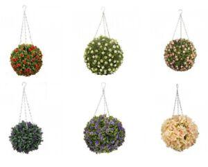 Artificial Hanging Topiary Flower Ball Outdoor Faux Garden Patio Decor 30cm