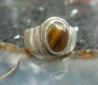 kraftvoller schwerer ring aus silber mit tigerauge 18 mm 80er wie neu