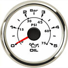 1pc 52mm Auto Oil Pressure Instrument 0-5bar 0-75psi White Oil Pressure Meters