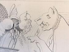 Superbe  Dessin à la main encre lion  panier feuille acanthe 1865 taille A3