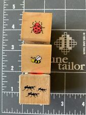 Used: Lot of 3 Ladybug, Bee and Ants Wood Mounted Rubber-stamps