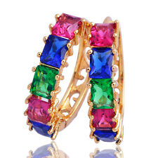 New vogue Gold Plated Multi-Color Crystal Rhinestone Women's Hoop Earring