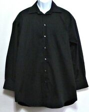 Crazy Horse Men's Black & Gray Stripe Cotton Dress Shirt - Sz 17  32/33