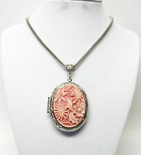Large Oval Silver & Floral Resin Locket Pendant Necklace